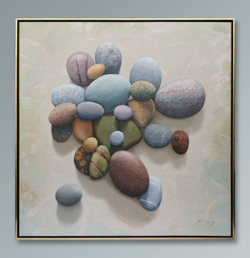 """Beach Stones- Grand Manan - Oil on canvas - 52"""" x 52"""" - SOLD"""