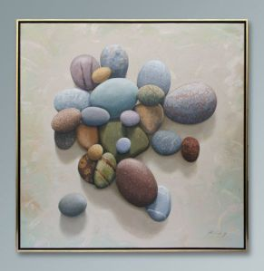 "Beach Stones- Grand Manan - Oil on canvas - 52"" x 52"" - SOLD"