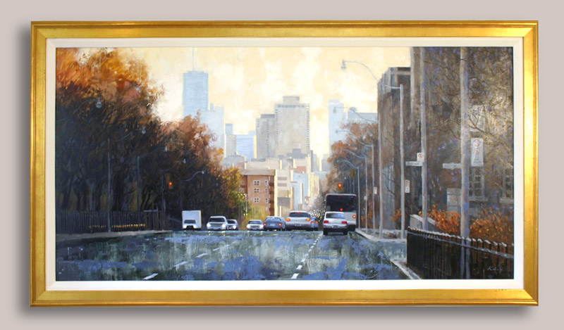 """Avenue Road from Balmoral - Oil on board -- 24"""" x 48"""" -- $3,200.00"""