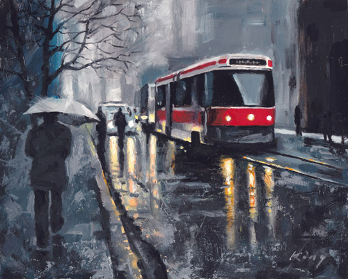 """Queen Streetcar - 8"""" x 10"""" - Oil on Board - SOLD"""