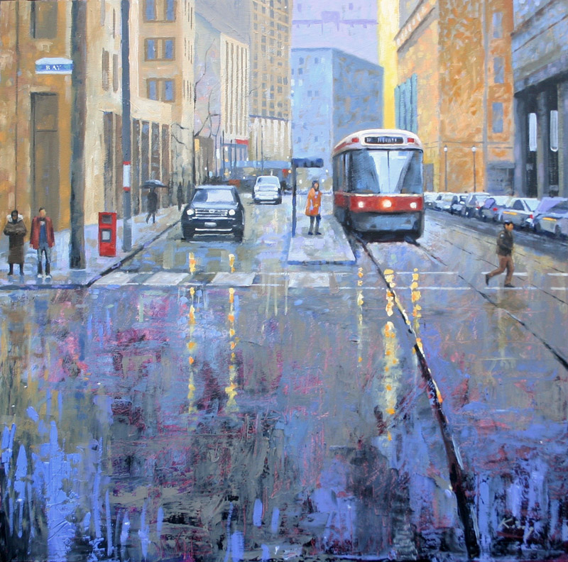 """Streetcar, Bay and College - 24"""" x 24"""" - Oil on Birch - $1,900.00"""