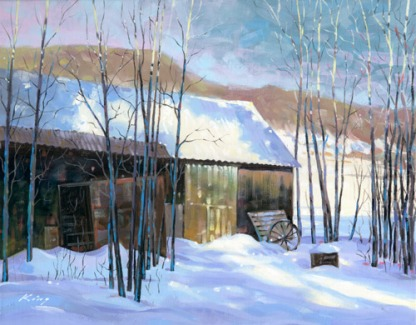 "Cabin in Winter - 16"" x 20"" - oil on canvas"