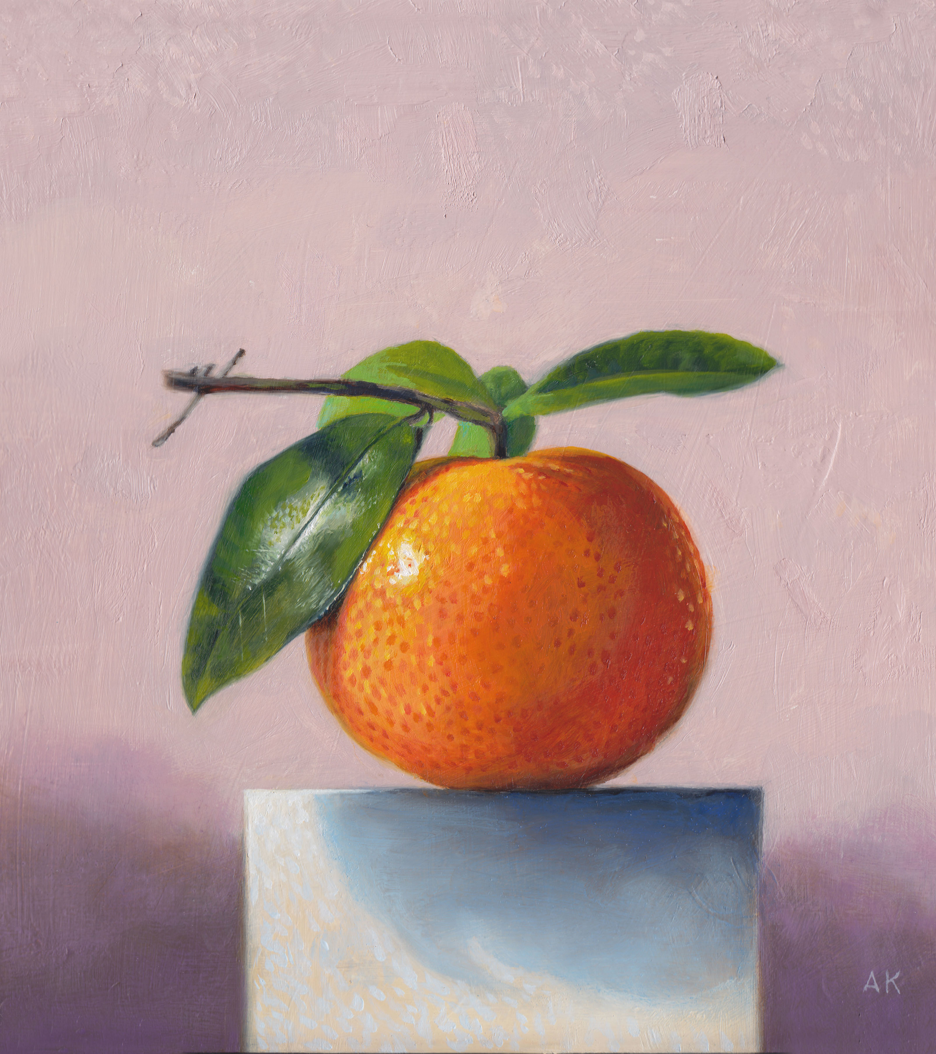 Oil painting of a tangerine by Toronto artist Alan King