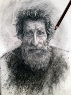 Biblical Job - 10 x 8 - charcoal sketch