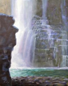 "Johnston Canyon, Banff - 20"" x 16"" - Oil on panel - $800.00"