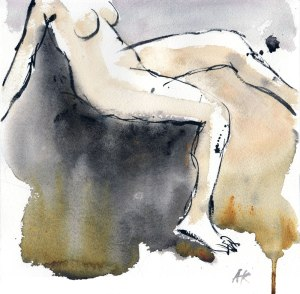 """Maria in the morning - 9""""x9"""" - Watercolour"""