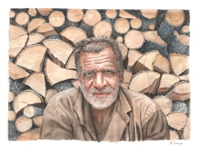 """The Woodsman - 10"""" x 14"""" - Watercolour - Mounted on live edge olive tree plank"""