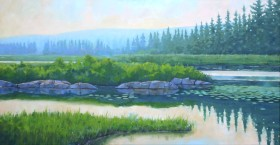 "Morning Marshland - oil - 24"" x 48"""