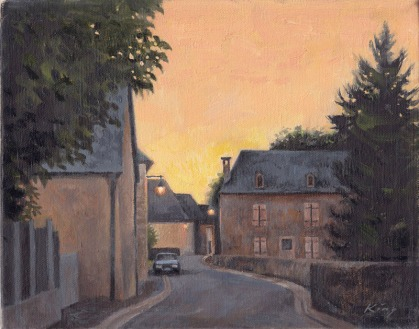 "Twilight, Dognen, France - oil canvas - 10"" x 12"""