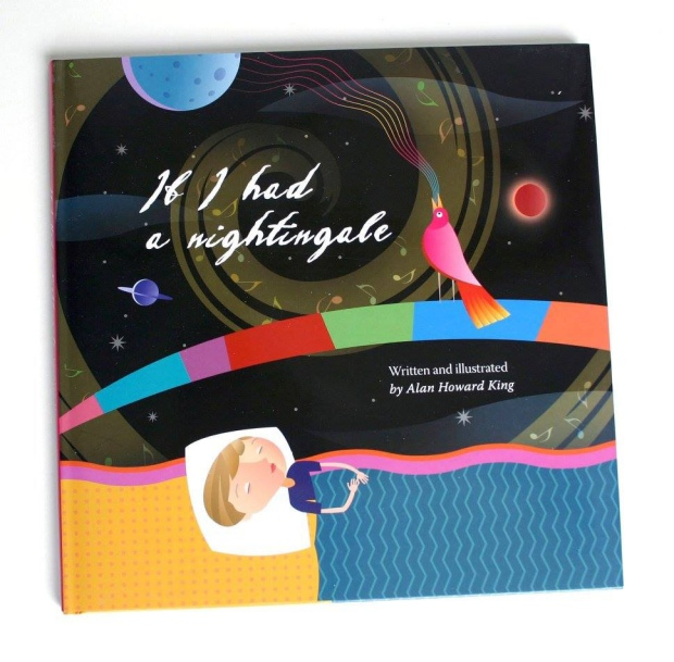 Colourful illustrated book cover of a child asleep and dreaming in bed. A black background, and a nightingale perched on a coloured arc with lines of colour streaming out of the bird's beak.